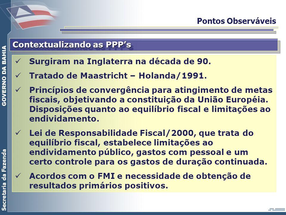 Pontos Observáveis Contextualizando as PPP's. Surgiram na Inglaterra na década de 90. Tratado de Maastricht – Holanda/1991.