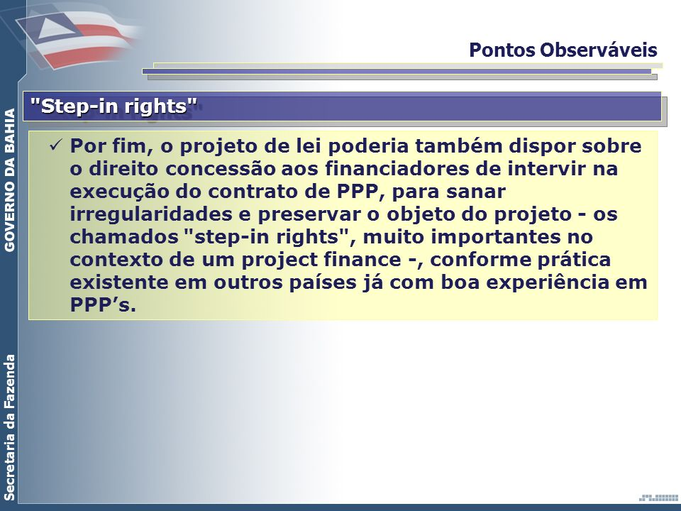 Pontos Observáveis Step-in rights