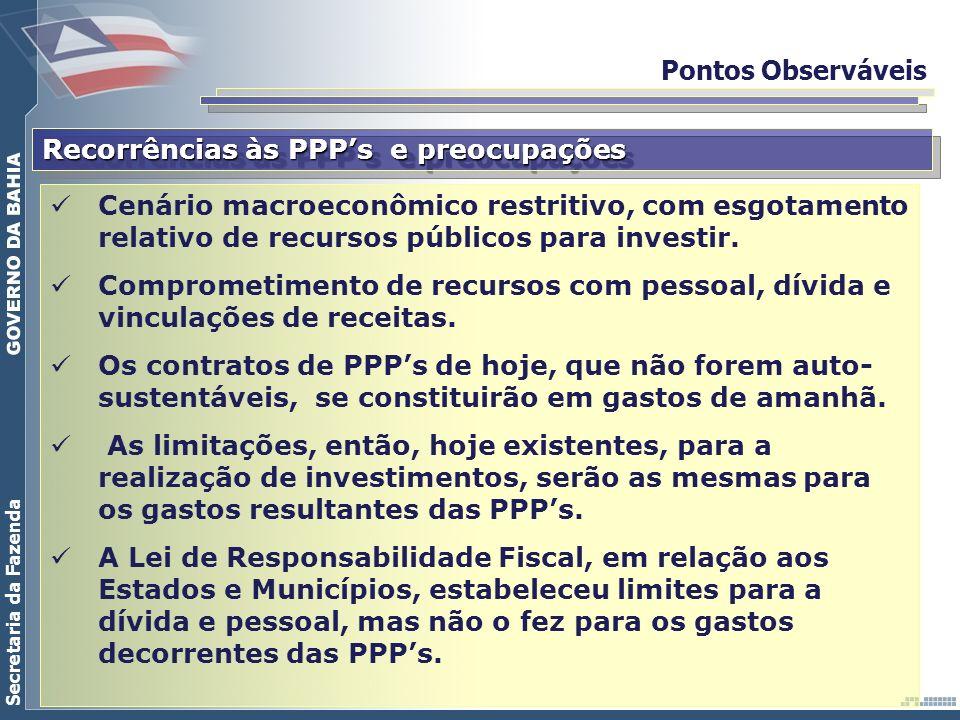 Pontos Observáveis Recorrências às PPP's e preocupações.