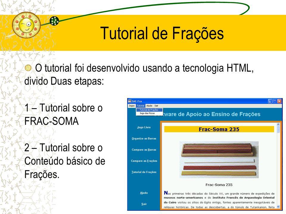 Tutorial de Frações O tutorial foi desenvolvido usando a tecnologia HTML, divido Duas etapas: 1 – Tutorial sobre o.