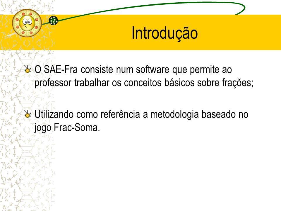 Introdução O SAE-Fra consiste num software que permite ao professor trabalhar os conceitos básicos sobre frações;