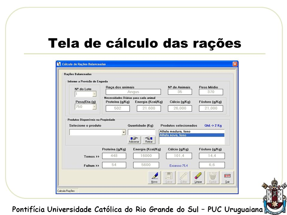 Tela de cálculo das rações