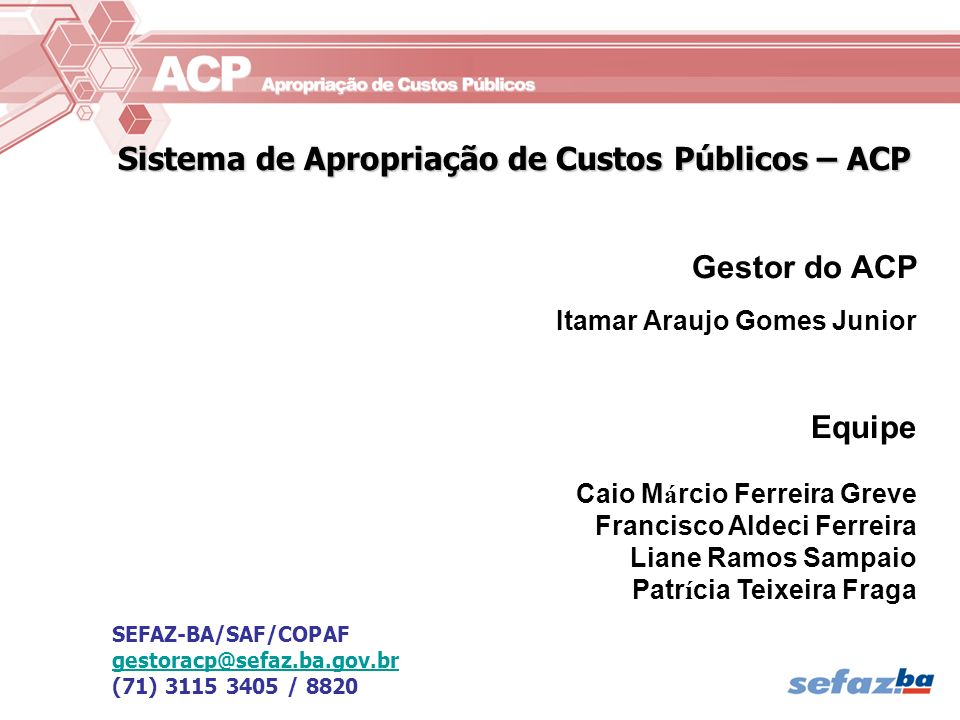 Sistema de Apropriação de Custos Públicos – ACP