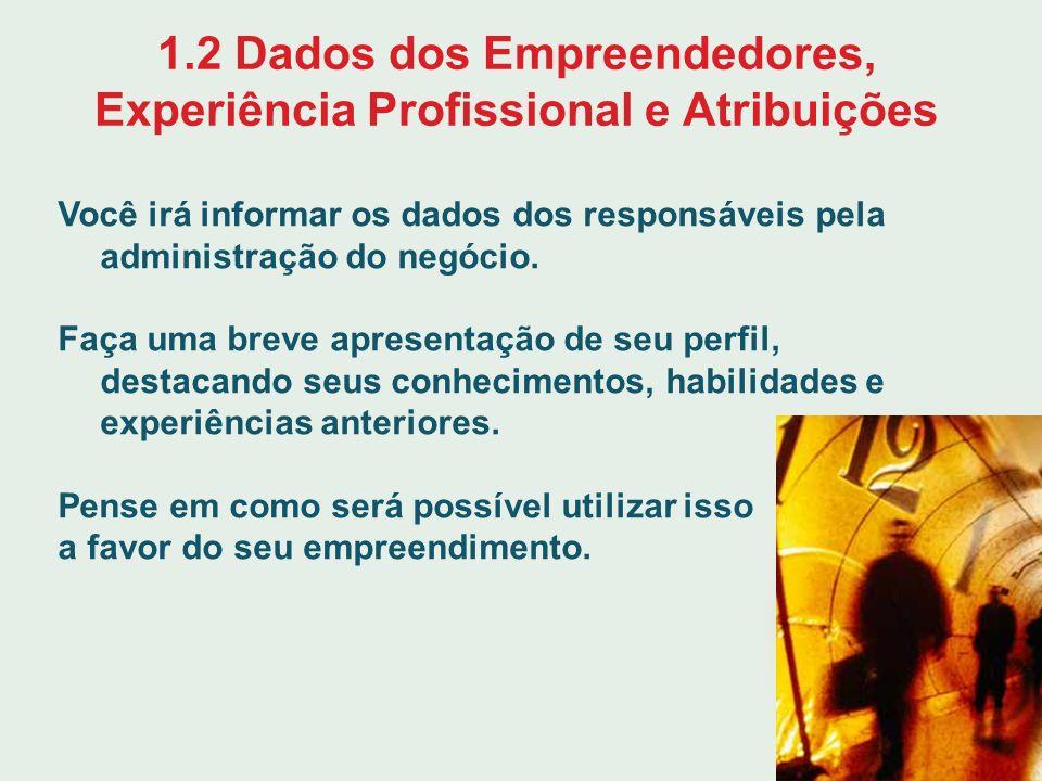1.2 Dados dos Empreendedores, Experiência Profissional e Atribuições