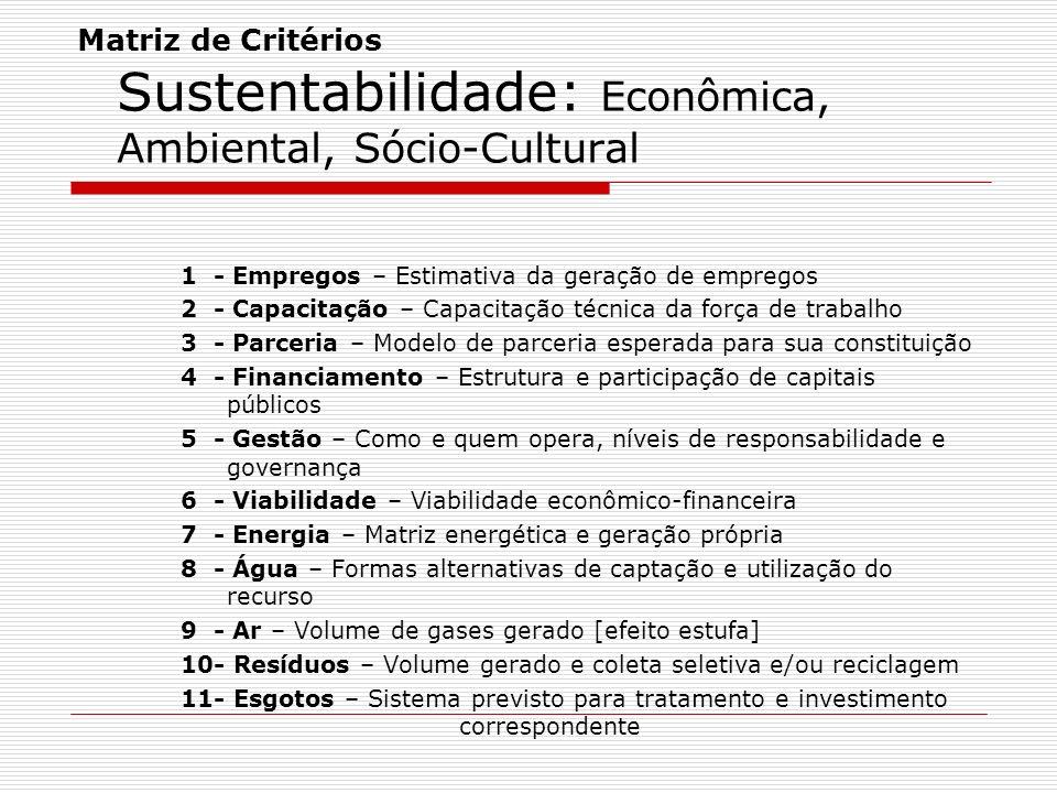 Matriz de Critérios Sustentabilidade: Econômica, Ambiental, Sócio-Cultural