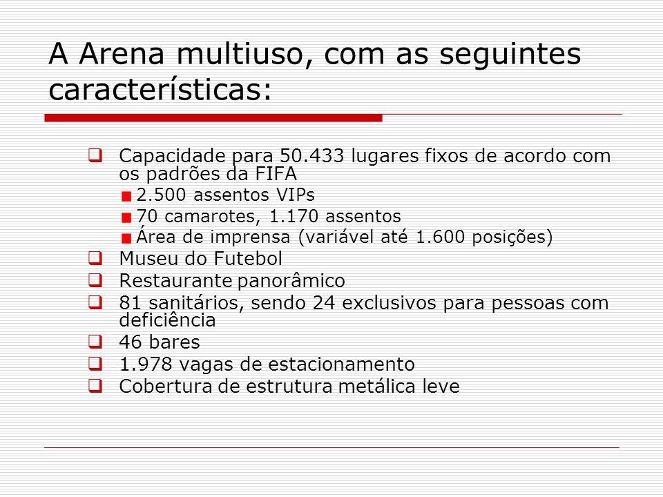 A Arena multiuso, com as seguintes características: