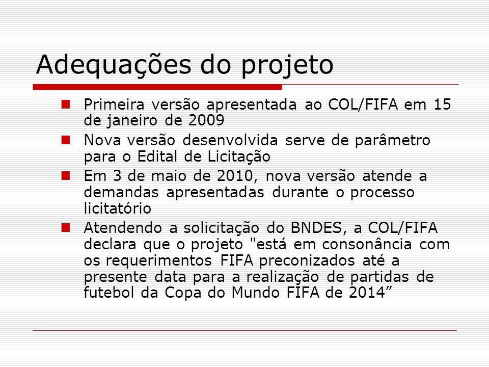 Adequações do projeto Primeira versão apresentada ao COL/FIFA em 15 de janeiro de 2009.