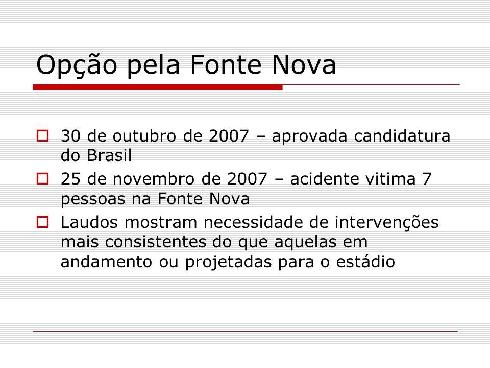 Opção pela Fonte Nova 30 de outubro de 2007 – aprovada candidatura do Brasil. 25 de novembro de 2007 – acidente vitima 7 pessoas na Fonte Nova.