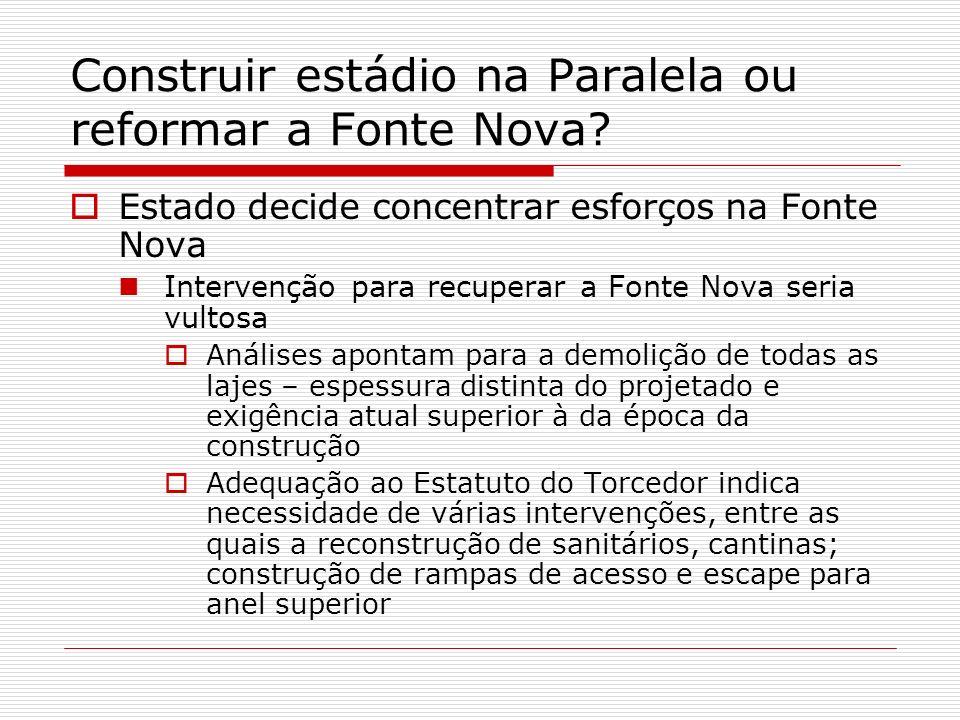 Construir estádio na Paralela ou reformar a Fonte Nova