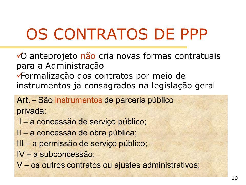OS CONTRATOS DE PPP O anteprojeto não cria novas formas contratuais para a Administração.