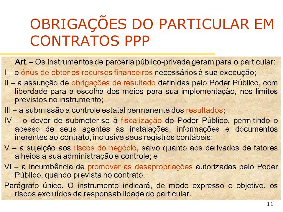 OBRIGAÇÕES DO PARTICULAR EM CONTRATOS PPP
