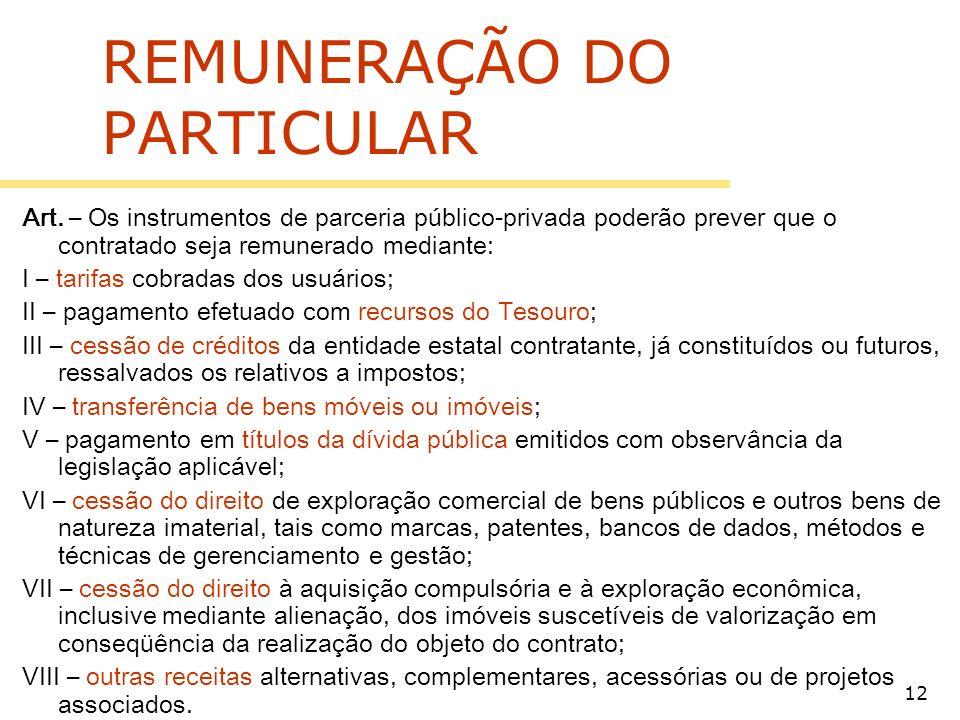 REMUNERAÇÃO DO PARTICULAR