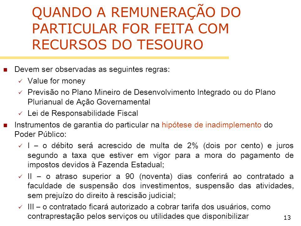 QUANDO A REMUNERAÇÃO DO PARTICULAR FOR FEITA COM RECURSOS DO TESOURO