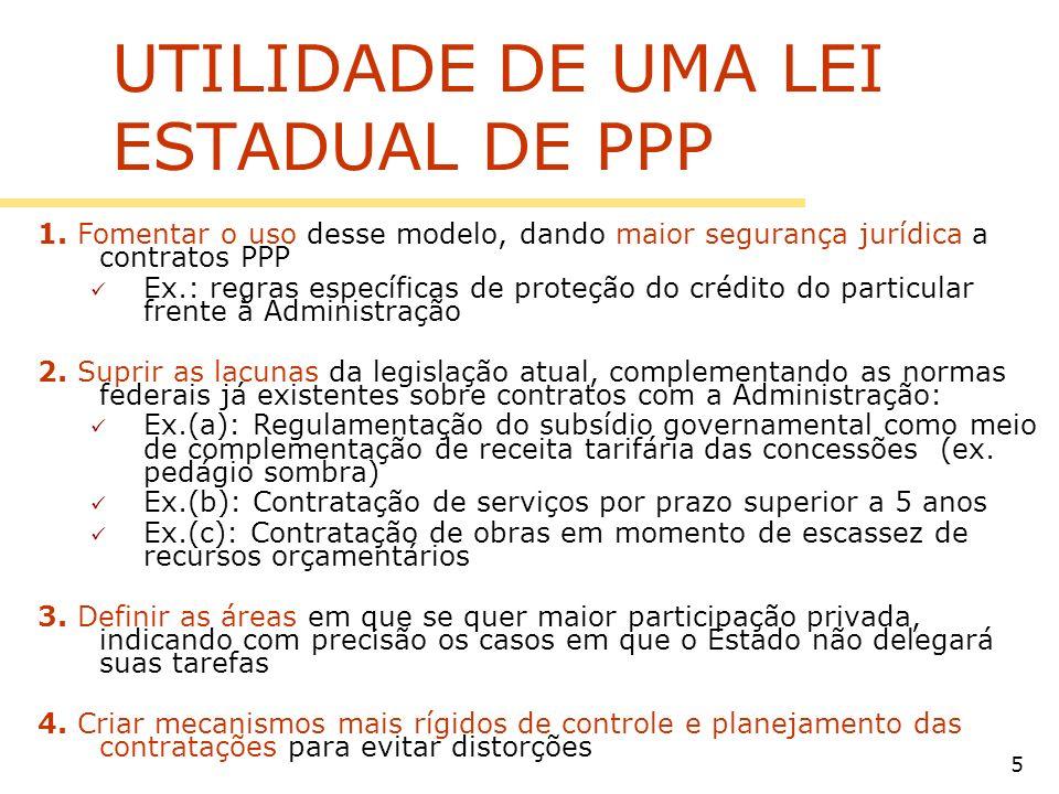 UTILIDADE DE UMA LEI ESTADUAL DE PPP