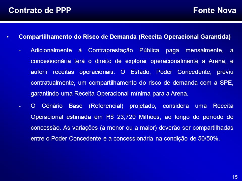 Contrato de PPP Compartilhamento do Risco de Demanda (Receita Operacional Garantida)