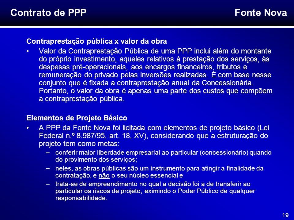 Contrato de PPP Contraprestação pública x valor da obra