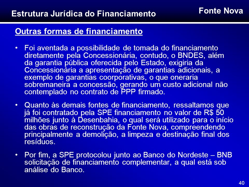 Outras formas de financiamento
