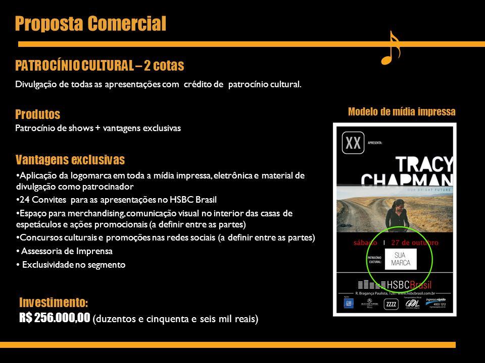 Proposta Comercial PATROCÍNIO CULTURAL – 2 cotas Produtos