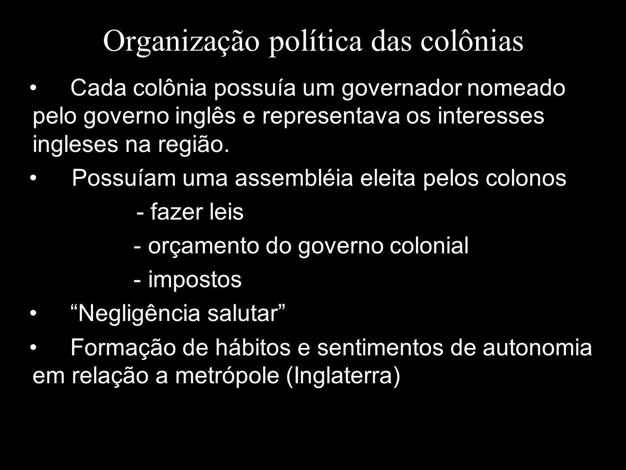 Organização política das colônias