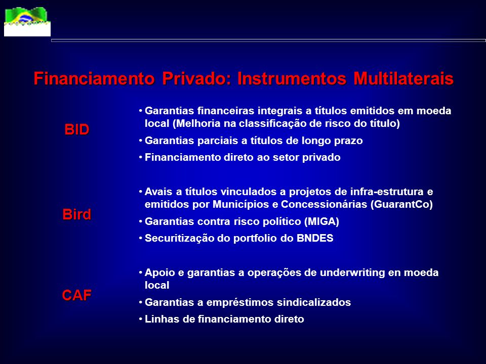 Financiamento Privado: Instrumentos Multilaterais