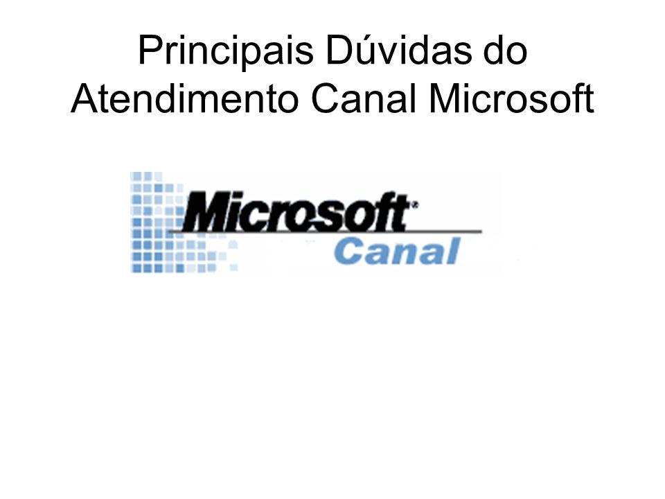 Principais Dúvidas do Atendimento Canal Microsoft
