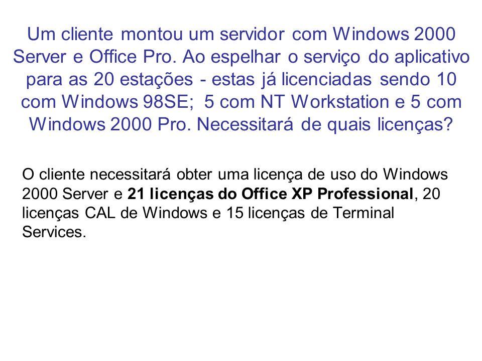 Um cliente montou um servidor com Windows 2000 Server e Office Pro