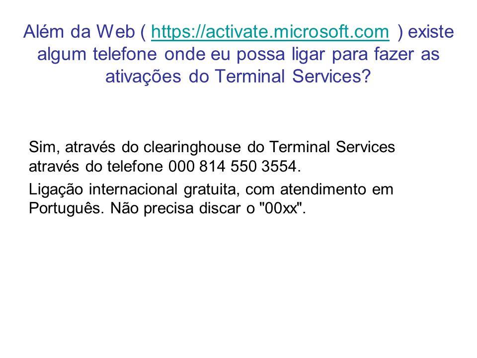 Além da Web ( https://activate. microsoft