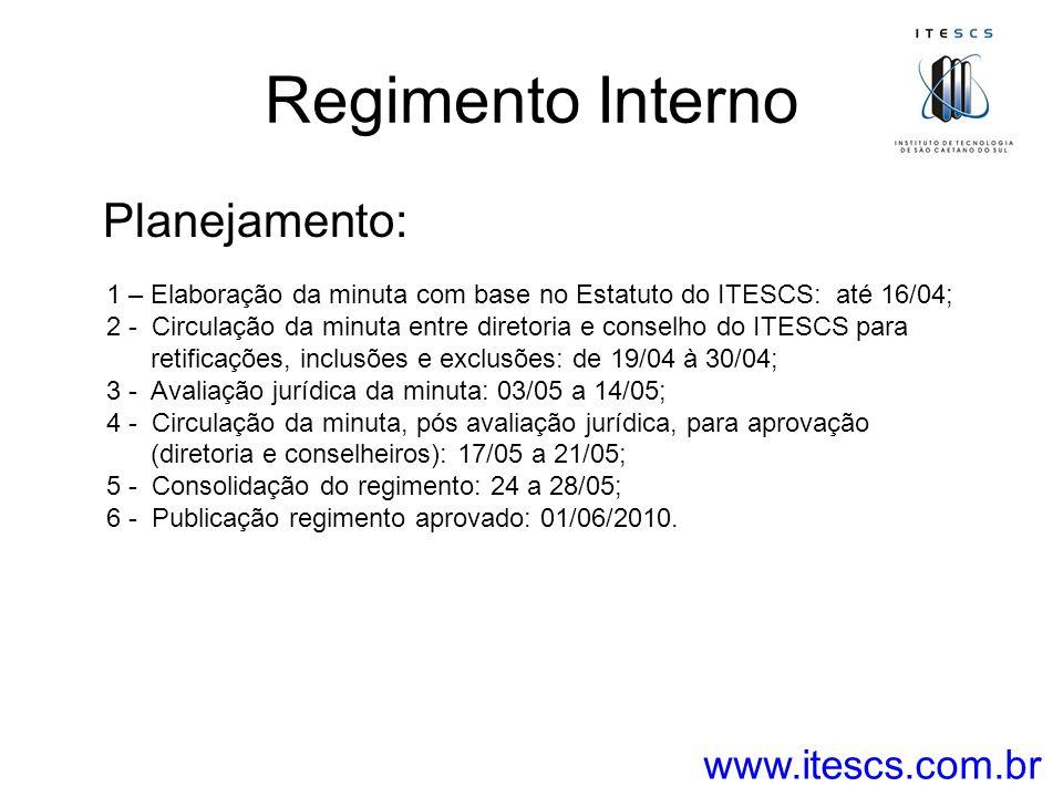 Regimento Interno Planejamento: www.itescs.com.br