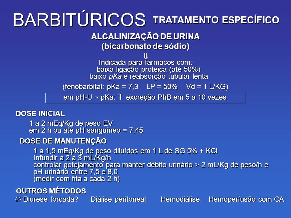 TRATAMENTO ESPECÍFICO ALCALINIZAÇÃO DE URINA (bicarbonato de sódio)