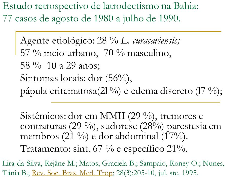 Estudo retrospectivo de latrodectismo na Bahia: