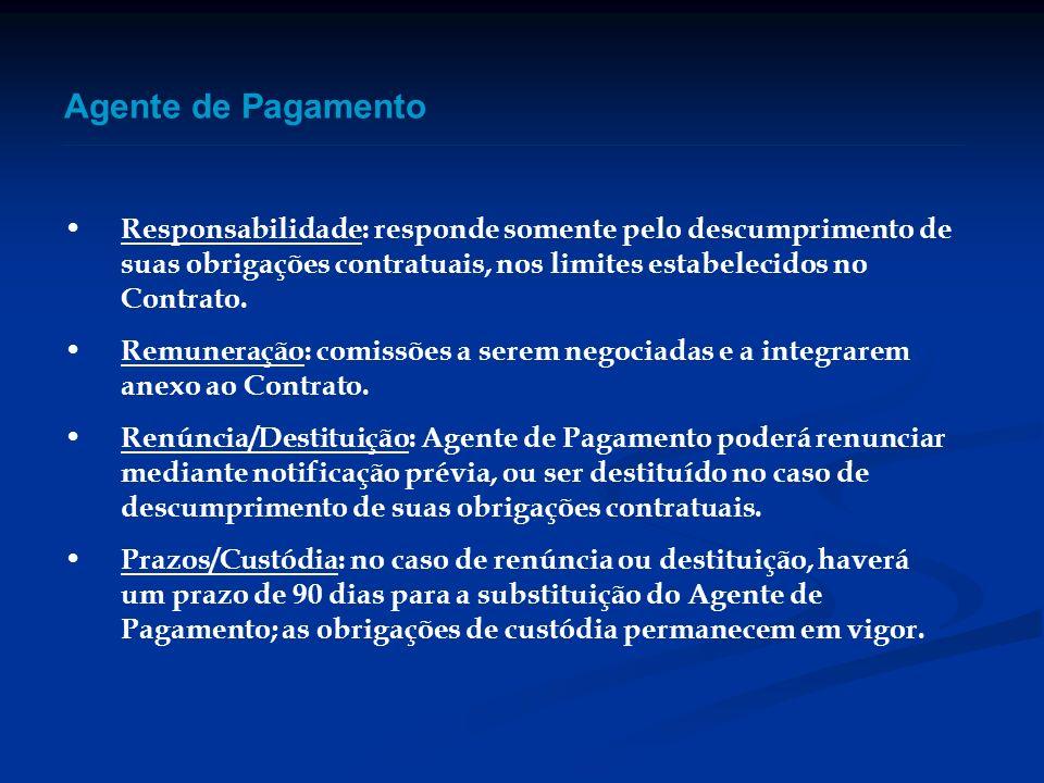 Agente de Pagamento Responsabilidade: responde somente pelo descumprimento de suas obrigações contratuais, nos limites estabelecidos no Contrato.