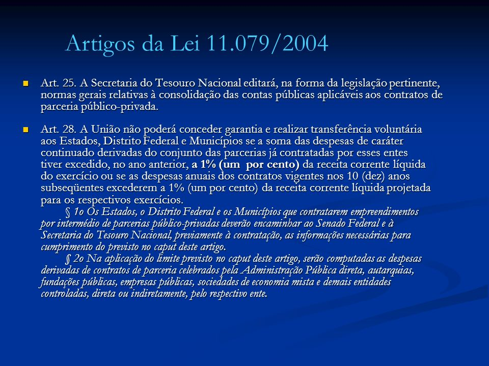 Artigos da Lei 11.079/2004