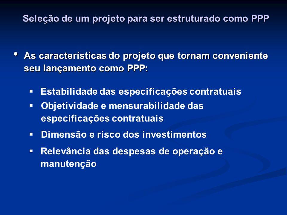 Seleção de um projeto para ser estruturado como PPP