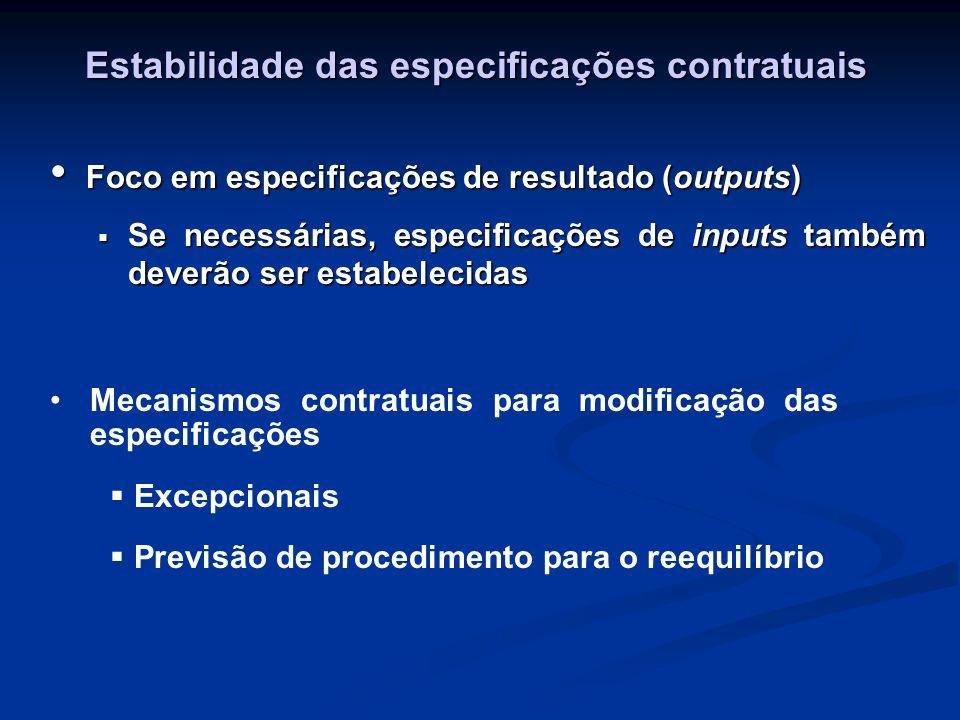 Estabilidade das especificações contratuais