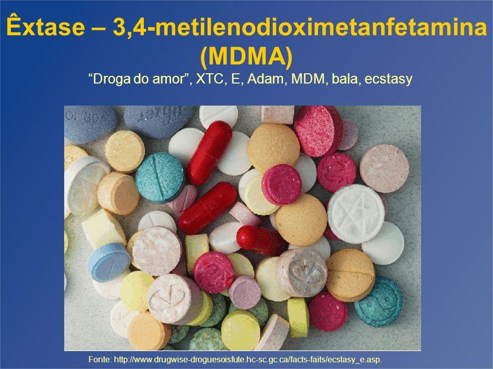 Êxtase – 3,4-metilenodioximetanfetamina (MDMA) Droga do amor , XTC, E, Adam, MDM, bala, ecstasy