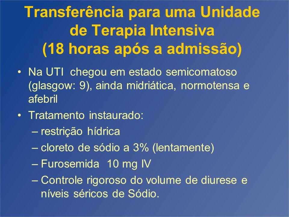 Transferência para uma Unidade de Terapia Intensiva (18 horas após a admissão)