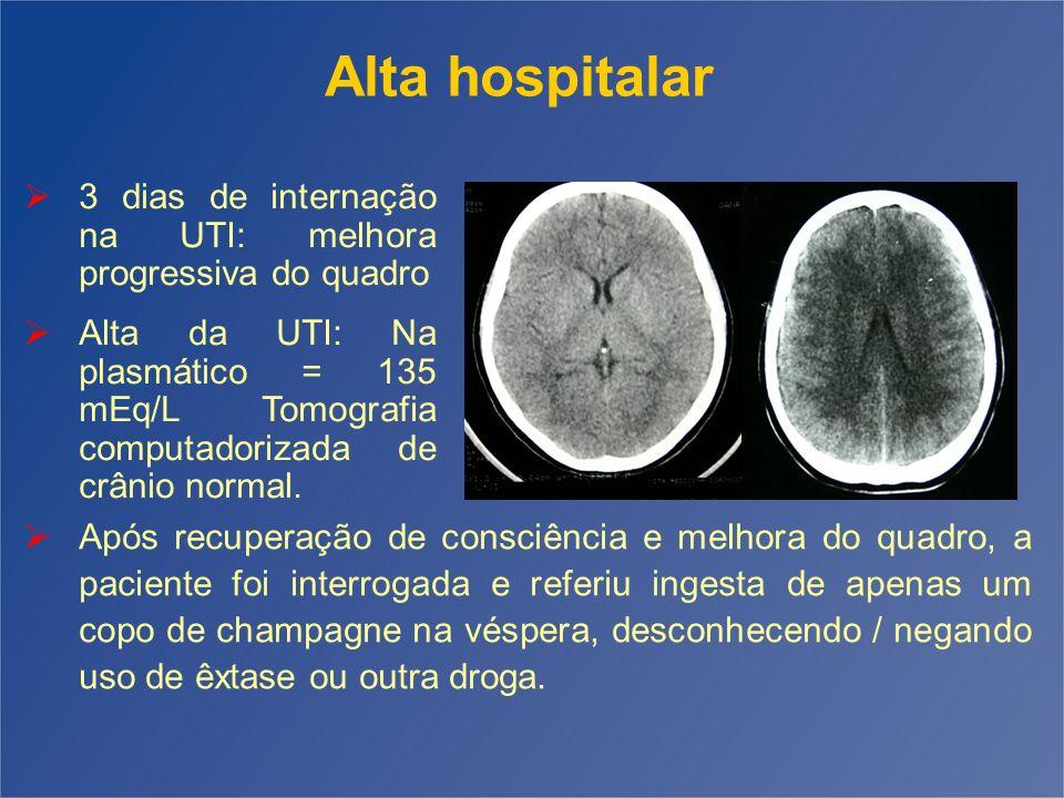 Alta hospitalar 3 dias de internação na UTI: melhora progressiva do quadro.