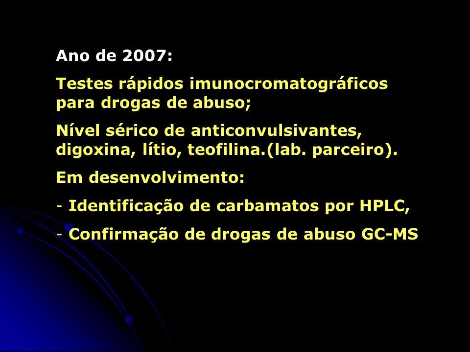 Ano de 2007: Testes rápidos imunocromatográficos para drogas de abuso;
