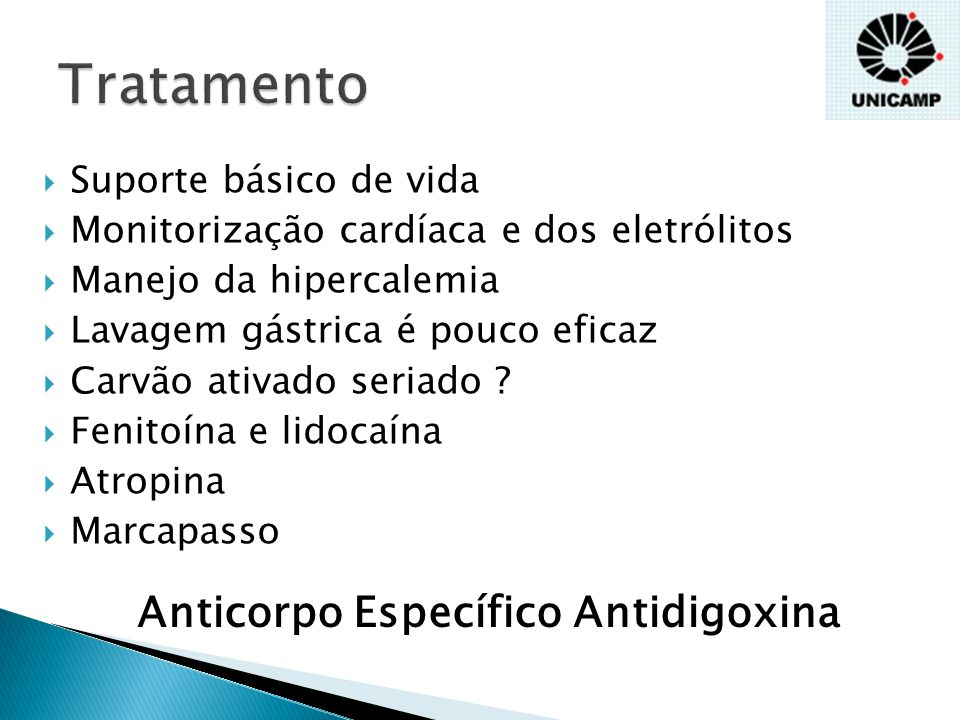 Tratamento Anticorpo Específico Antidigoxina Suporte básico de vida