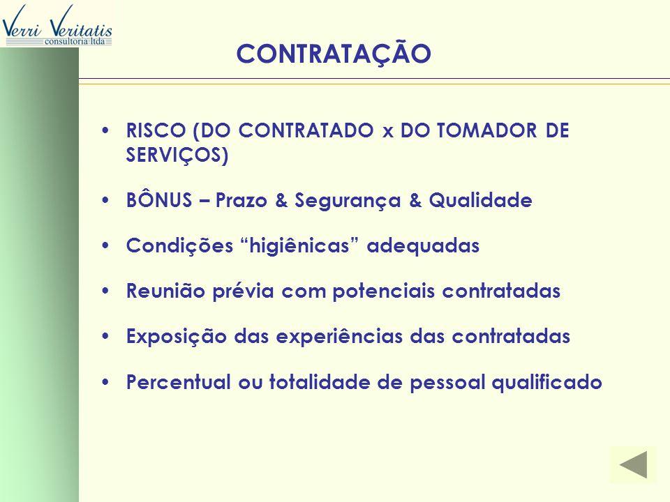 CONTRATAÇÃO RISCO (DO CONTRATADO x DO TOMADOR DE SERVIÇOS)