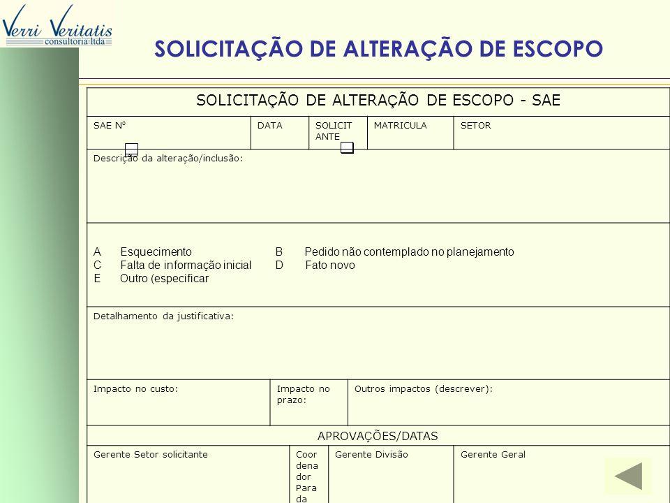 SOLICITAÇÃO DE ALTERAÇÃO DE ESCOPO - SAE