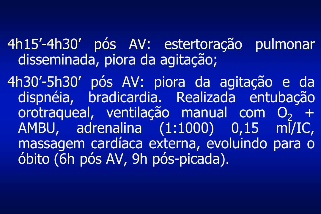 4h15'-4h30' pós AV: estertoração pulmonar disseminada, piora da agitação;