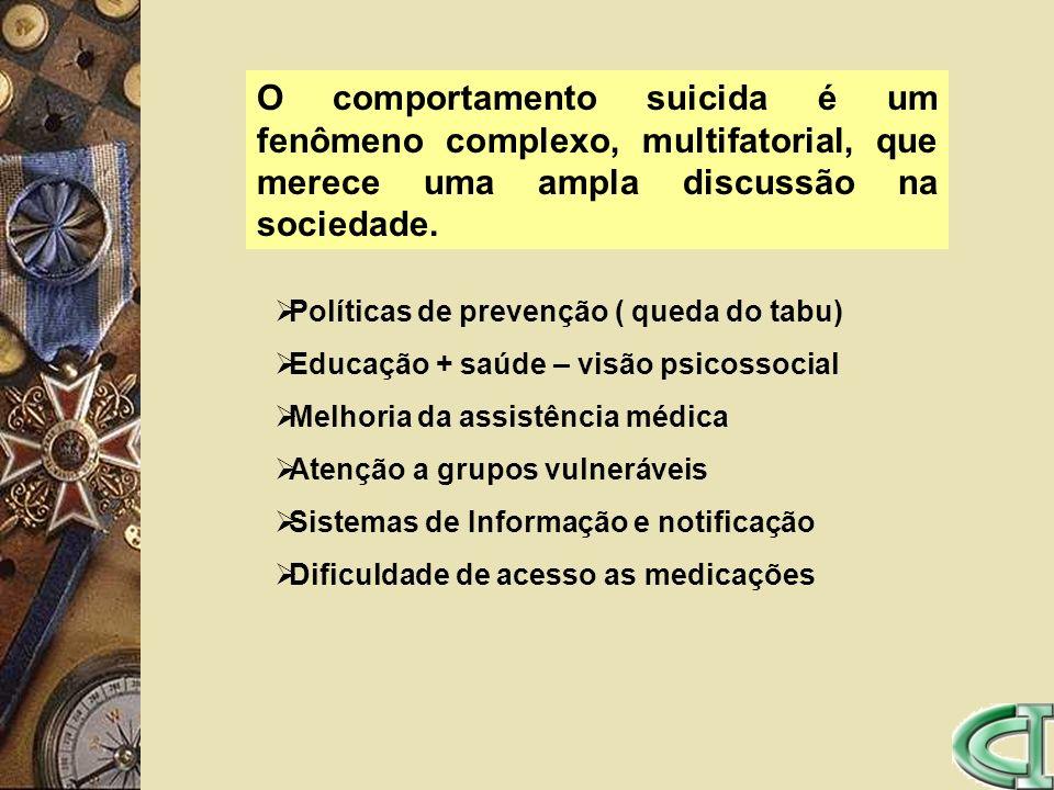 O comportamento suicida é um fenômeno complexo, multifatorial, que merece uma ampla discussão na sociedade.