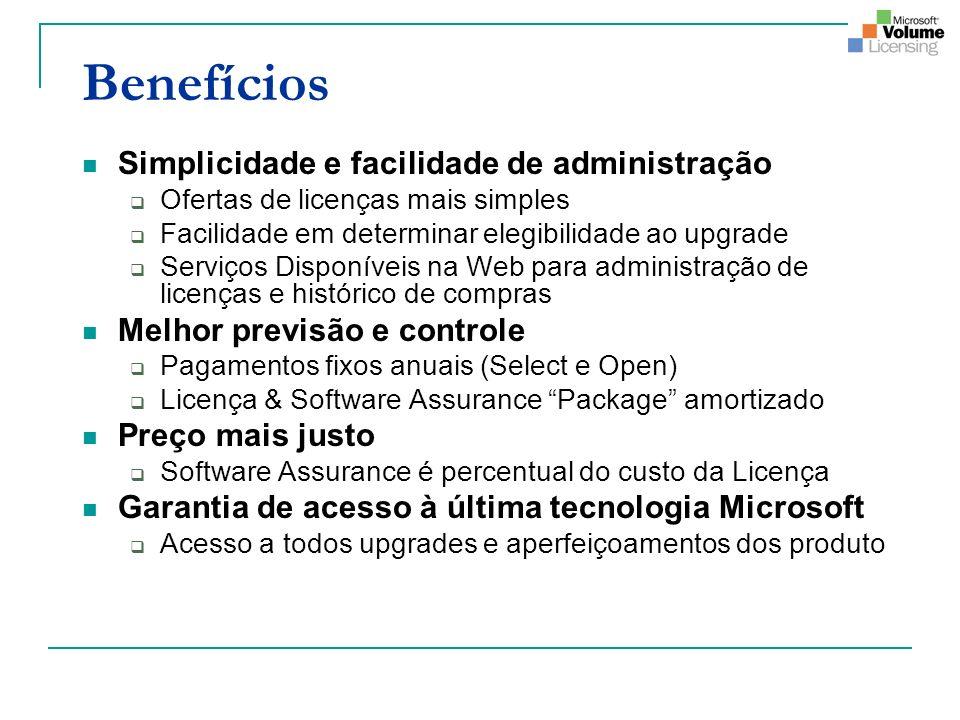 Benefícios Simplicidade e facilidade de administração