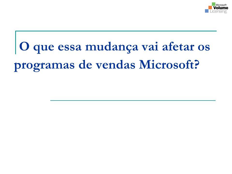 O que essa mudança vai afetar os programas de vendas Microsoft