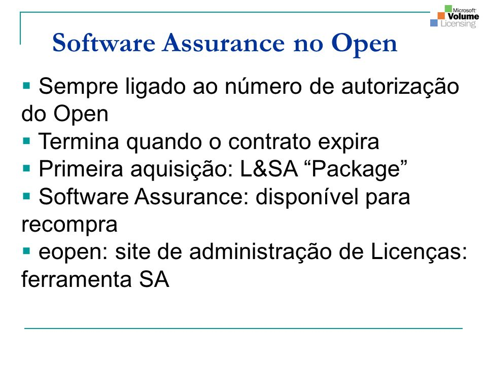 Software Assurance no Open