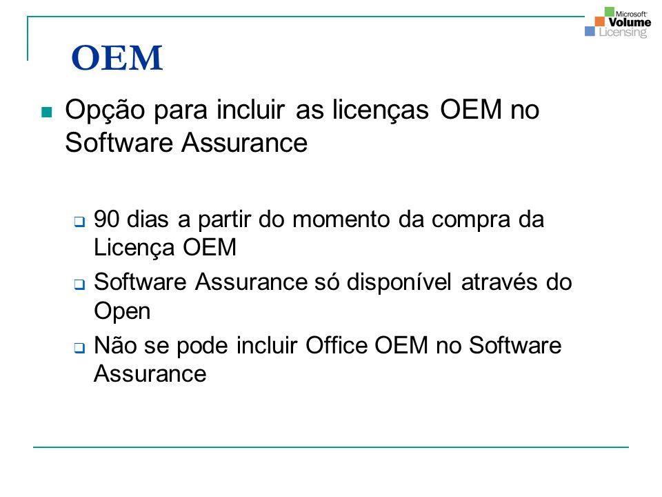 OEM Opção para incluir as licenças OEM no Software Assurance