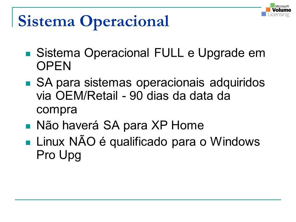 Sistema Operacional Sistema Operacional FULL e Upgrade em OPEN