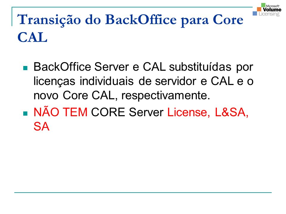 Transição do BackOffice para Core CAL