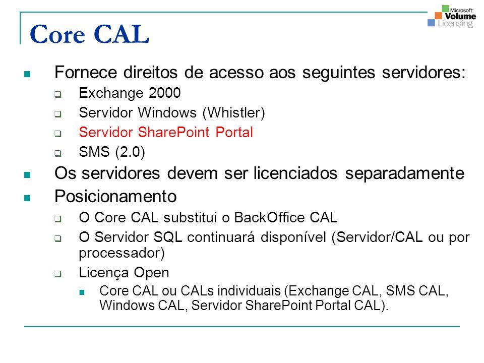 Core CAL Fornece direitos de acesso aos seguintes servidores: